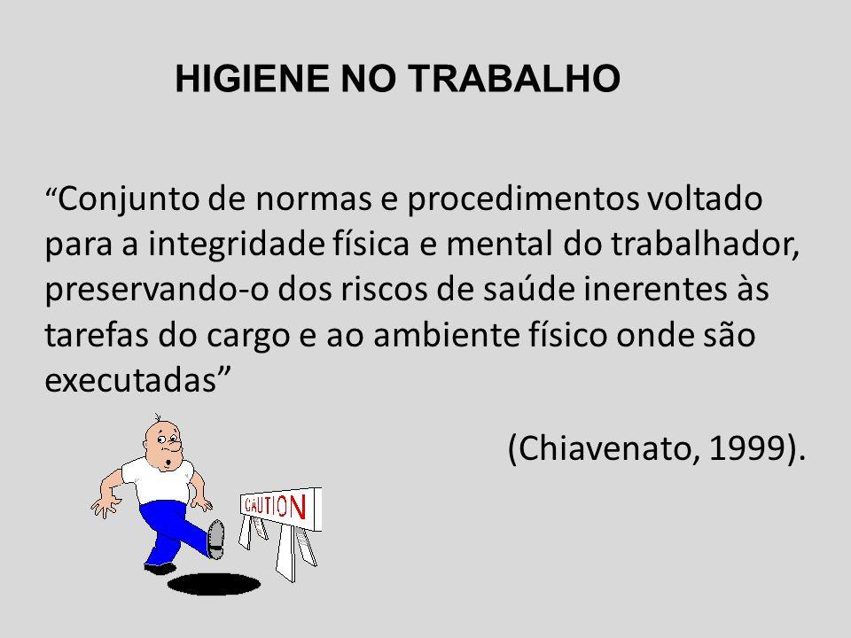 HIGIENE NO TRABALHO (Chiavenato, 1999).