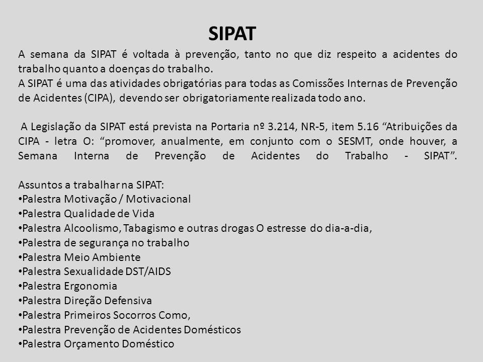 SIPAT A semana da SIPAT é voltada à prevenção, tanto no que diz respeito a acidentes do trabalho quanto a doenças do trabalho.