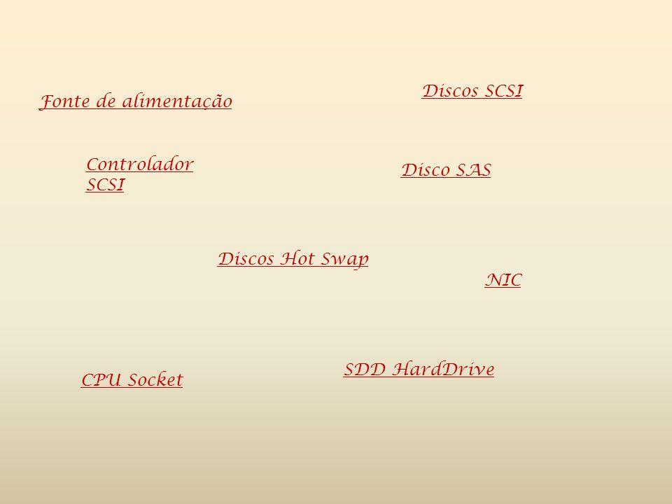 Discos SCSI Fonte de alimentação. Controlador SCSI. Disco SAS. Discos Hot Swap. NIC. SDD HardDrive.