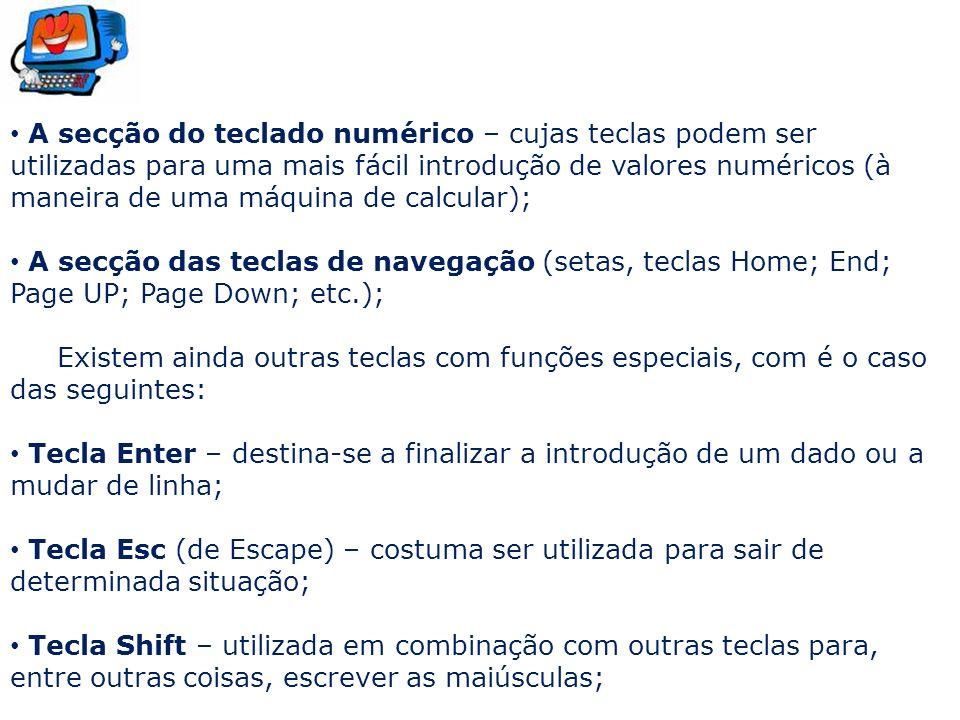 A secção do teclado numérico – cujas teclas podem ser utilizadas para uma mais fácil introdução de valores numéricos (à maneira de uma máquina de calcular);