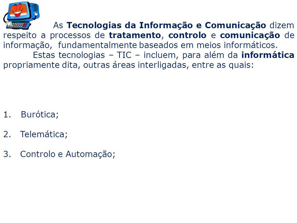 As Tecnologias da Informação e Comunicação dizem respeito a processos de tratamento, controlo e comunicação de informação, fundamentalmente baseados em meios informáticos.