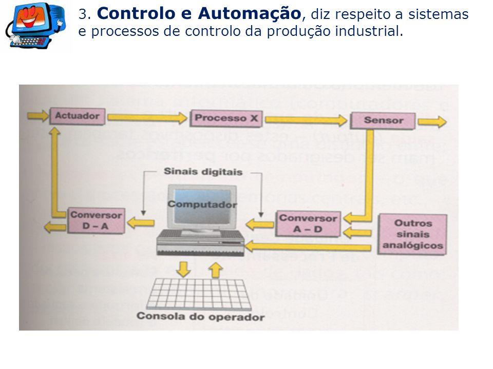 3. Controlo e Automação, diz respeito a sistemas e processos de controlo da produção industrial.