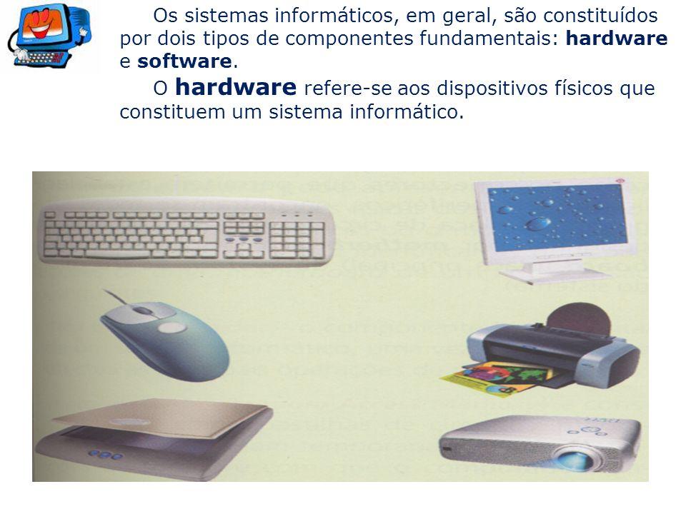 Os sistemas informáticos, em geral, são constituídos por dois tipos de componentes fundamentais: hardware e software.