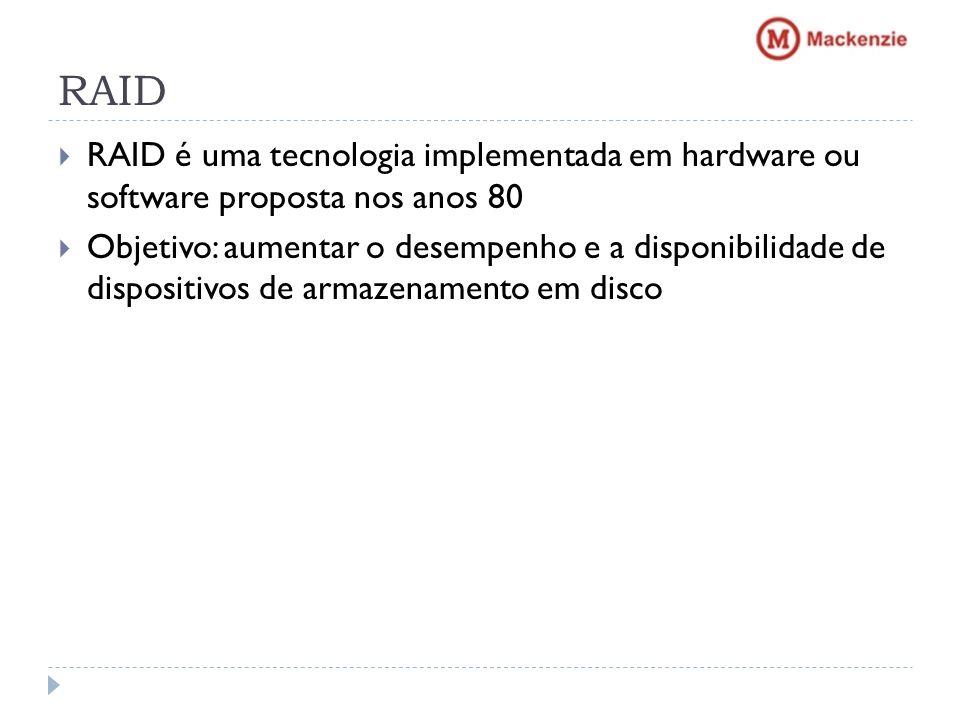 RAID RAID é uma tecnologia implementada em hardware ou software proposta nos anos 80.