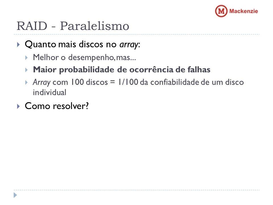 RAID - Paralelismo Quanto mais discos no array: Como resolver