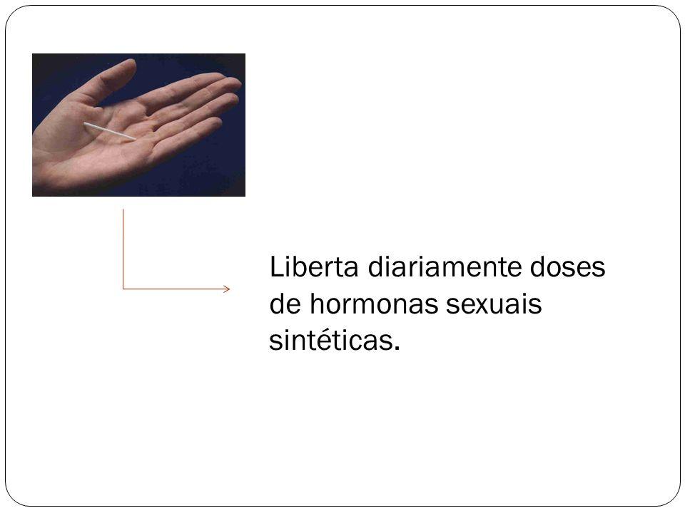 Liberta diariamente doses de hormonas sexuais sintéticas.