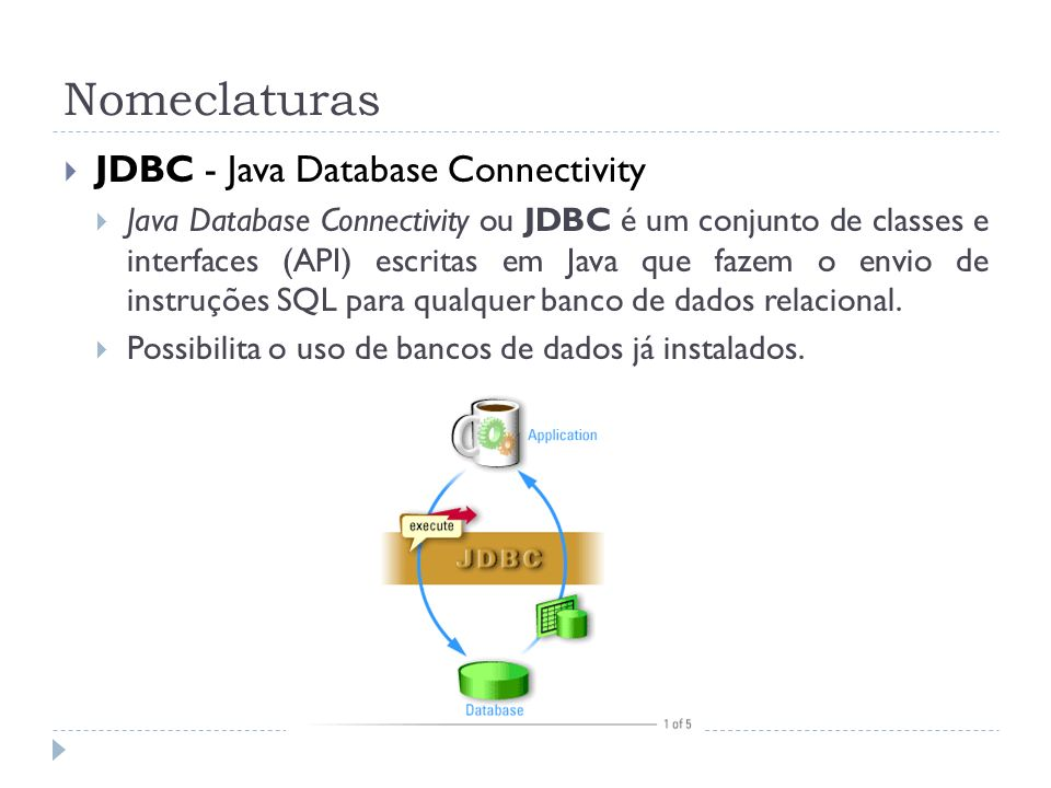 Nomeclaturas JDBC - Java Database Connectivity