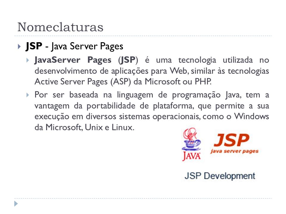 Nomeclaturas JSP - Java Server Pages