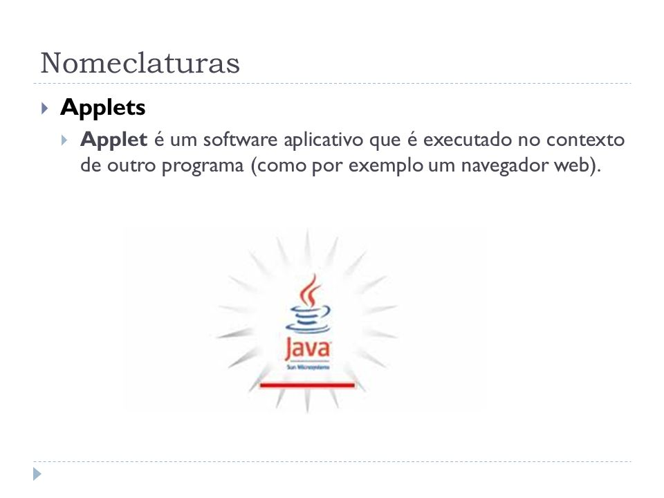 Nomeclaturas Applets.