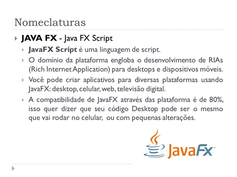 Nomeclaturas JAVA FX - Java FX Script