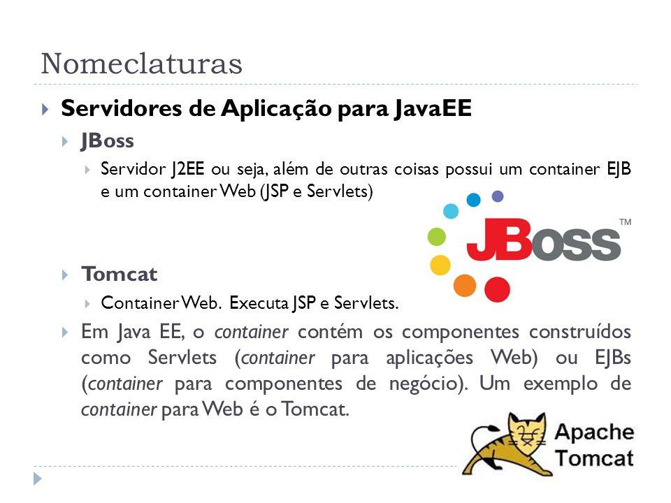 Nomeclaturas Servidores de Aplicação para JavaEE JBoss Tomcat