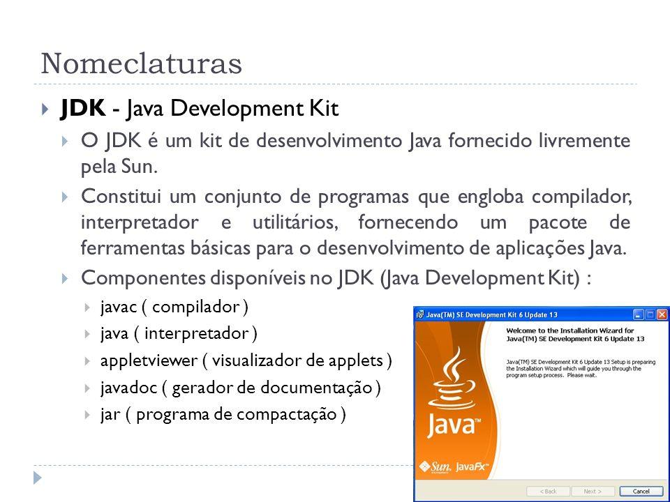 Nomeclaturas JDK - Java Development Kit