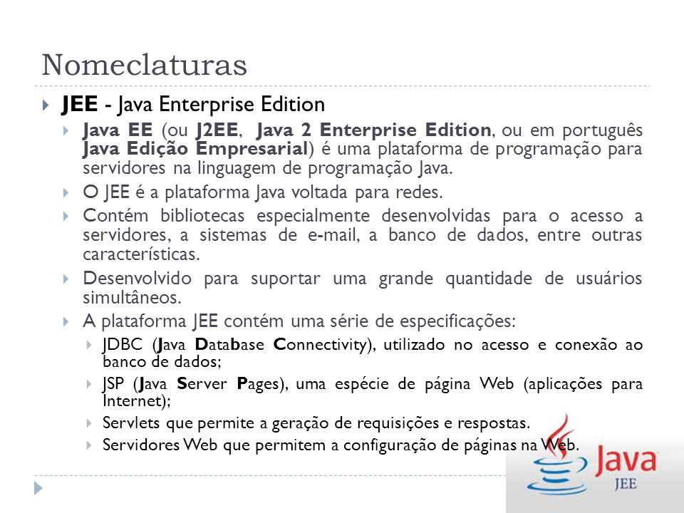 Nomeclaturas JEE - Java Enterprise Edition