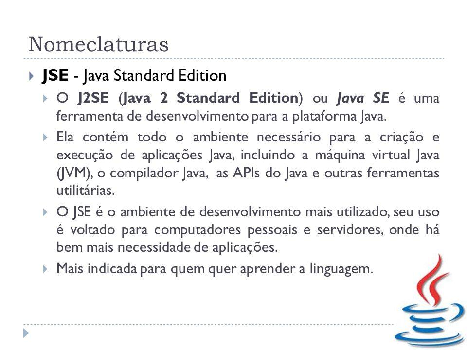 Nomeclaturas JSE - Java Standard Edition