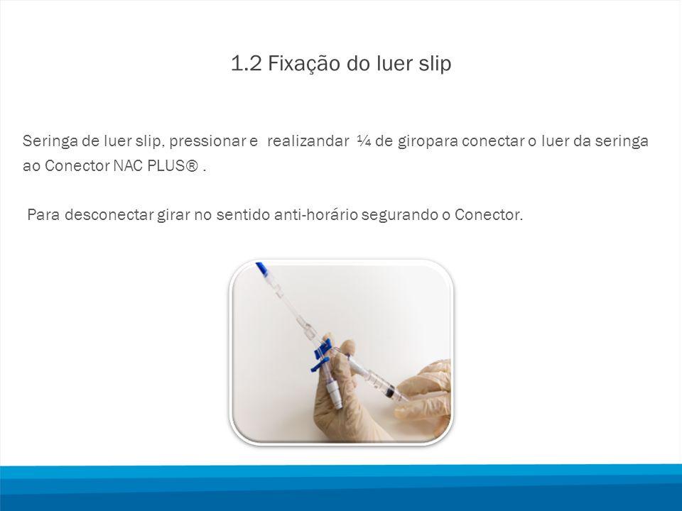 1.2 Fixação do luer slip Seringa de luer slip, pressionar e realizandar ¼ de giropara conectar o luer da seringa.
