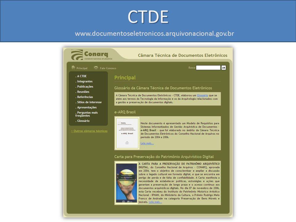 CTDE www.documentoseletronicos.arquivonacional.gov.br