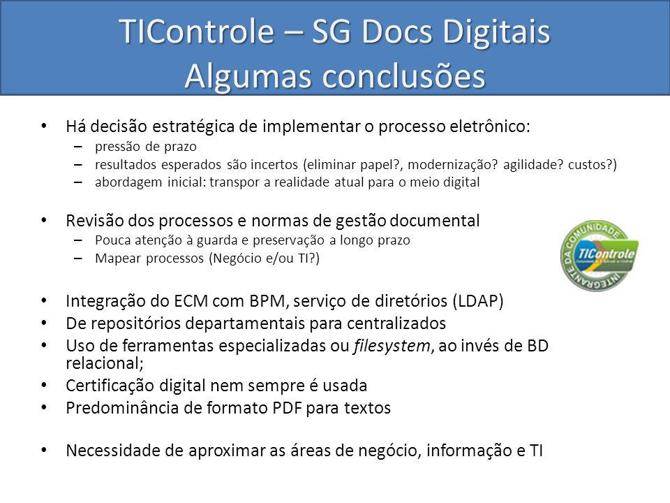 TIControle – SG Docs Digitais Algumas conclusões