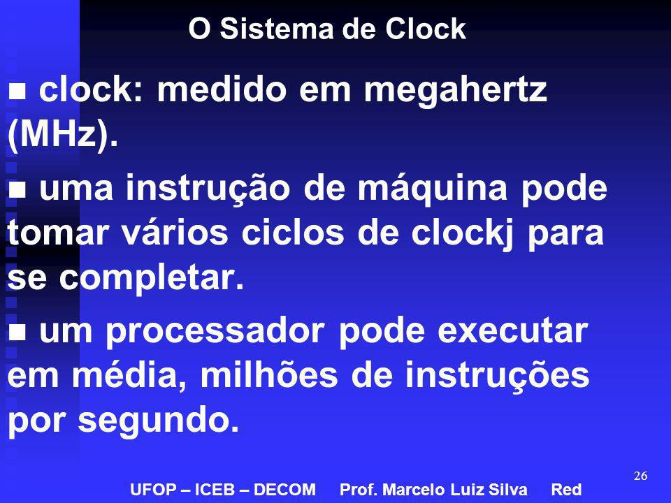 clock: medido em megahertz (MHz).