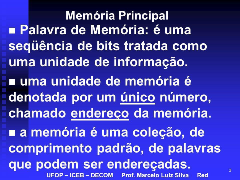 Memória Principal Palavra de Memória: é uma seqüência de bits tratada como uma unidade de informação.