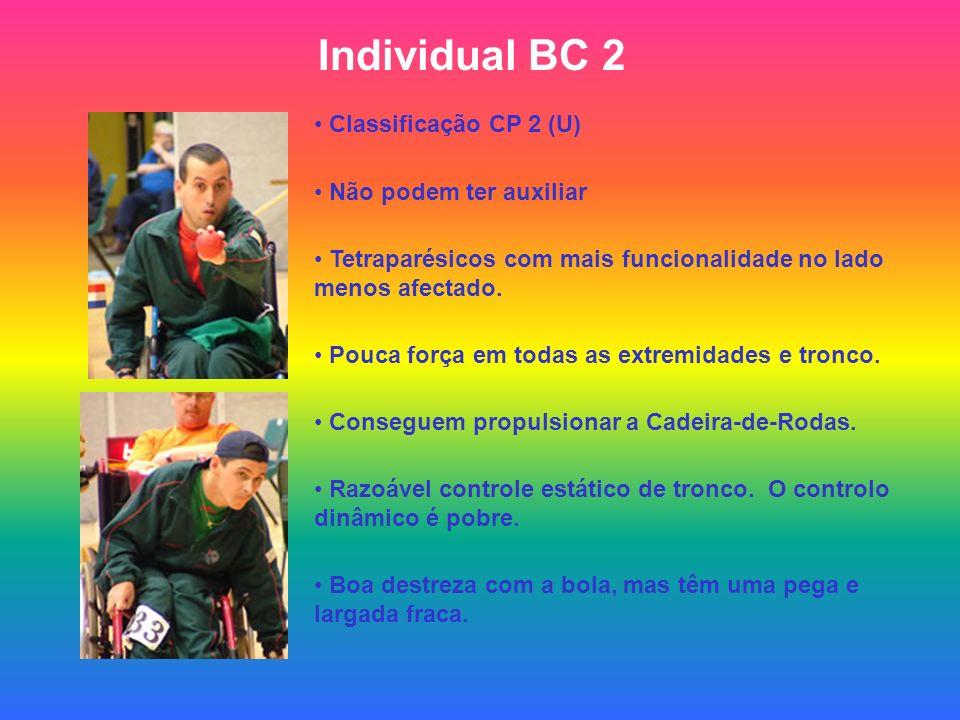 Individual BC 2 Classificação CP 2 (U) Não podem ter auxiliar