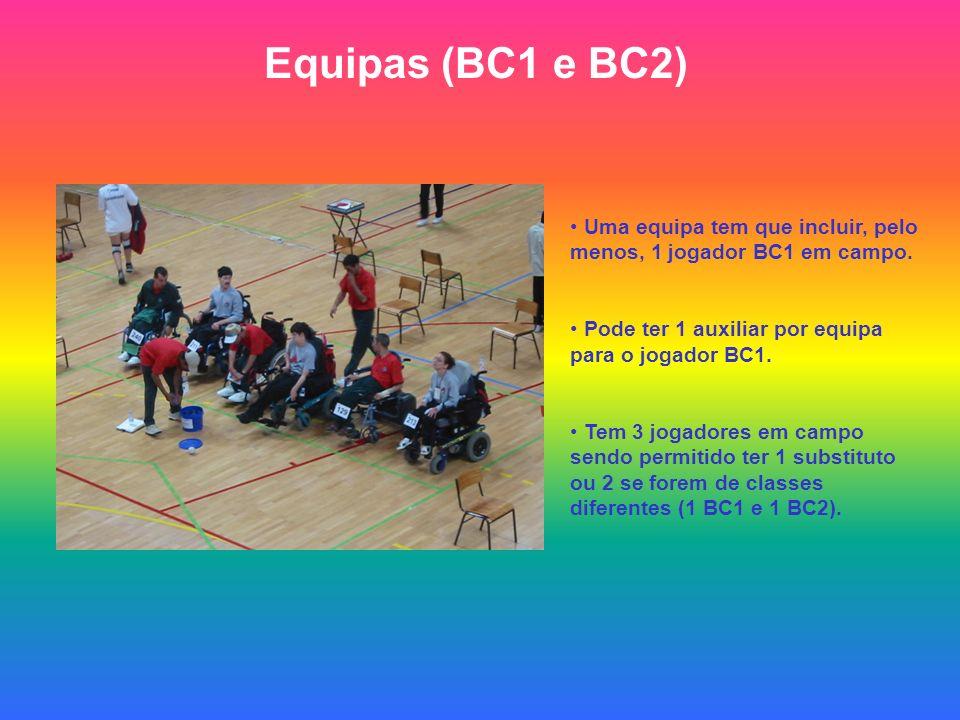 Equipas (BC1 e BC2) Uma equipa tem que incluir, pelo menos, 1 jogador BC1 em campo. Pode ter 1 auxiliar por equipa para o jogador BC1.