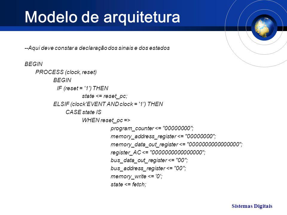 Modelo de arquitetura --Aqui deve constar a declaração dos sinais e dos estados. BEGIN. PROCESS (clock, reset)