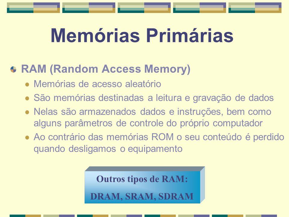 Memórias Primárias RAM (Random Access Memory)