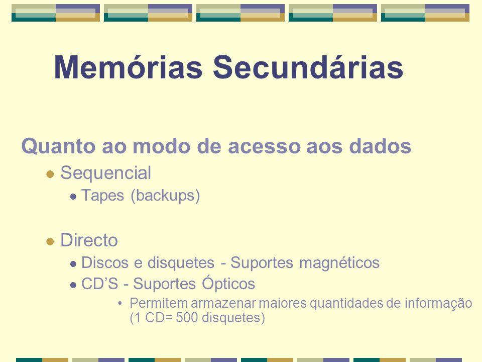 Memórias Secundárias Quanto ao modo de acesso aos dados Sequencial