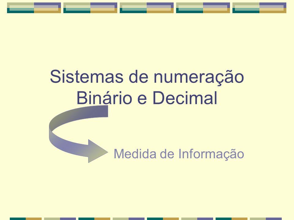 Sistemas de numeração Binário e Decimal