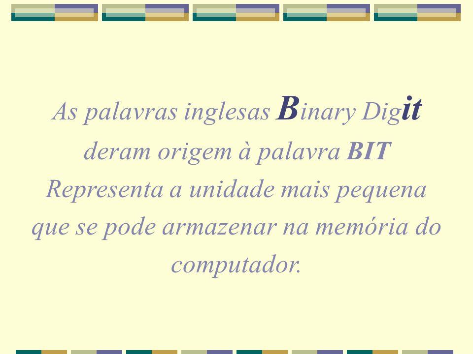 As palavras inglesas Binary Digit deram origem à palavra BIT