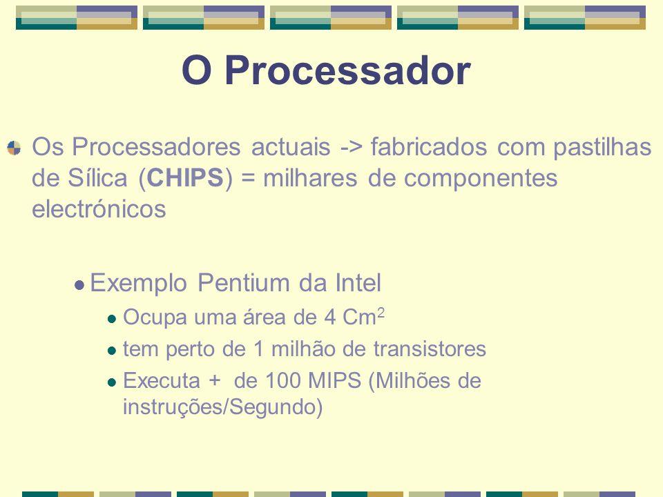 O Processador Os Processadores actuais -> fabricados com pastilhas de Sílica (CHIPS) = milhares de componentes electrónicos.