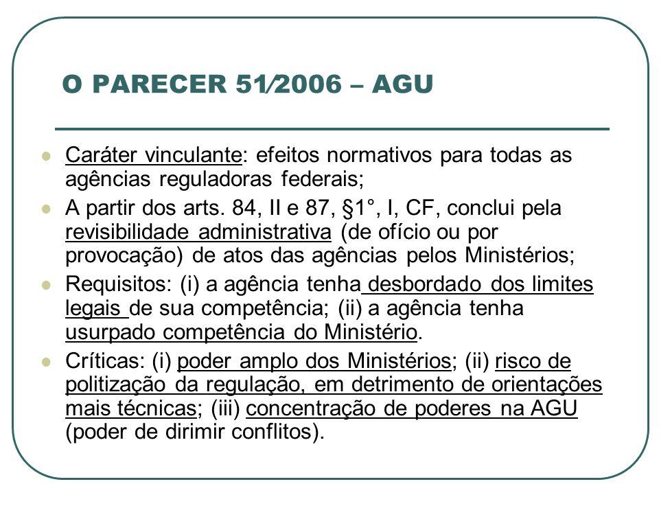 O PARECER 51⁄2006 – AGU Caráter vinculante: efeitos normativos para todas as agências reguladoras federais;