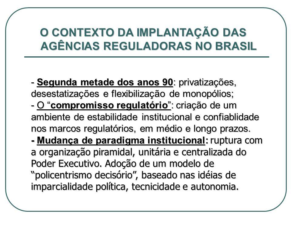 O CONTEXTO DA IMPLANTAÇÃO DAS AGÊNCIAS REGULADORAS NO BRASIL