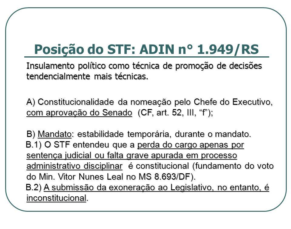 Posição do STF: ADIN n° 1.949/RS