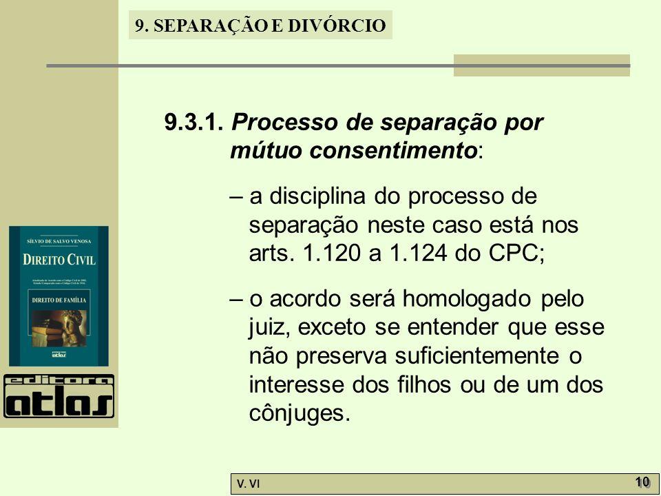 9.3.1. Processo de separação por mútuo consentimento: