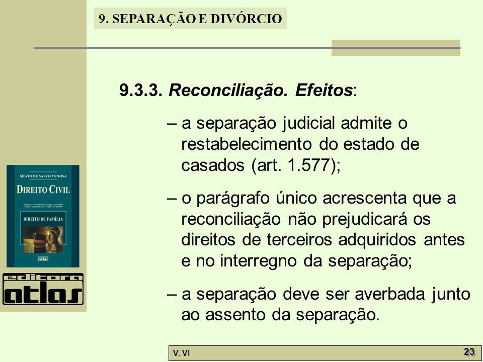 9.3.3. Reconciliação. Efeitos: