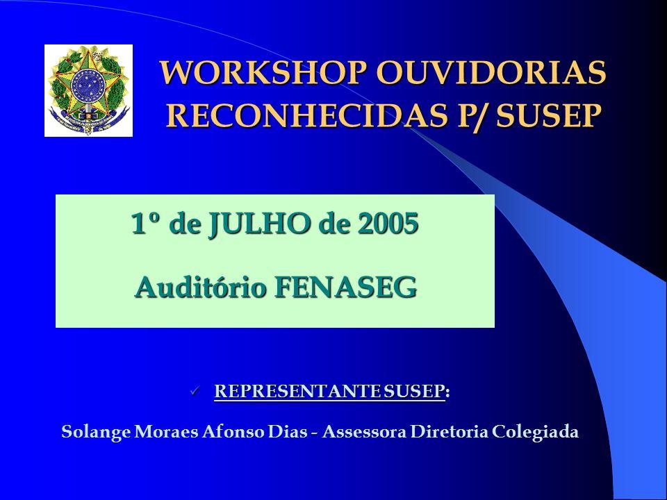 WORKSHOP OUVIDORIAS RECONHECIDAS P/ SUSEP