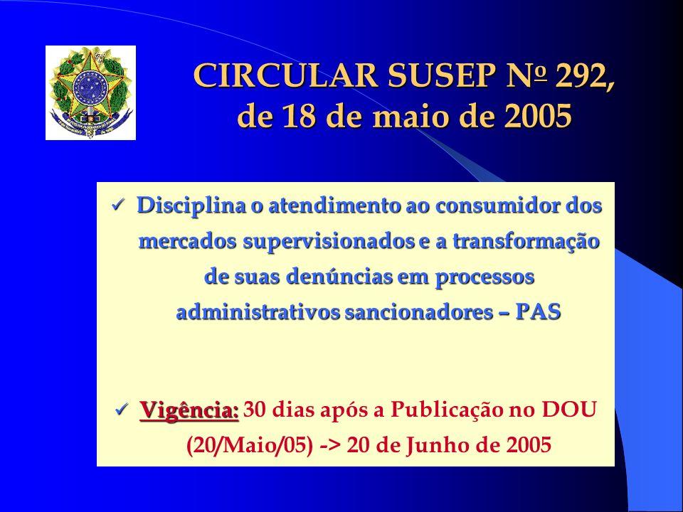 CIRCULAR SUSEP No 292, de 18 de maio de 2005