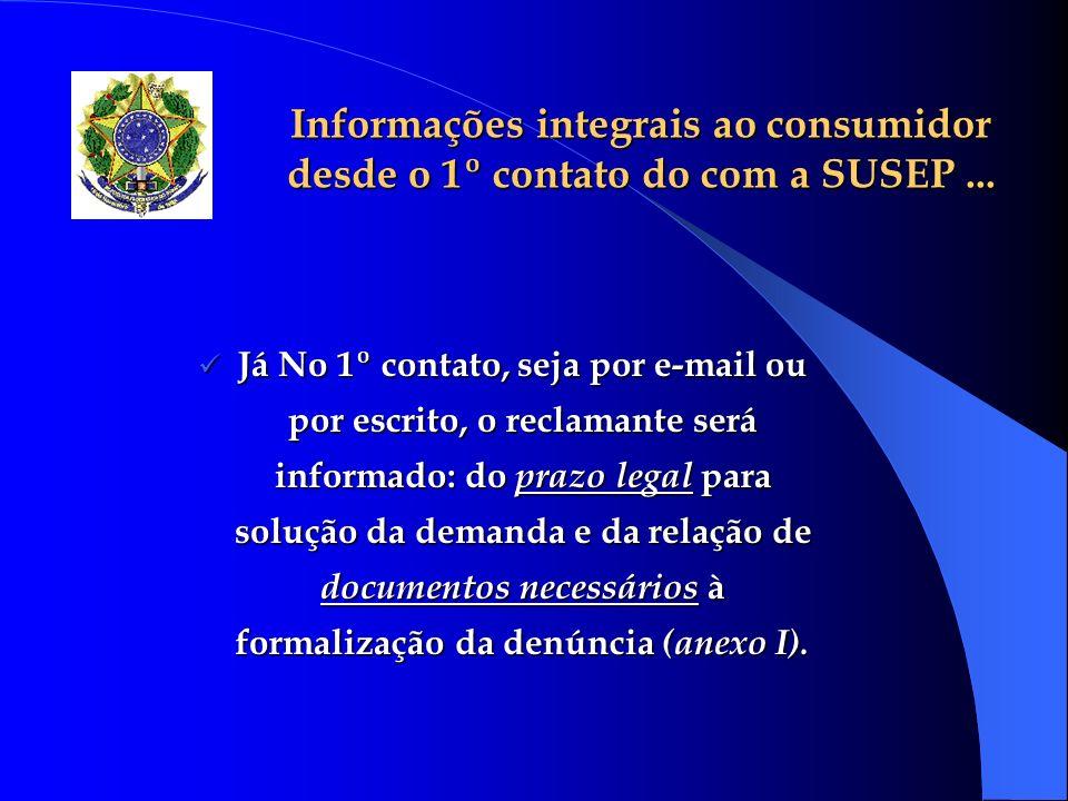 Informações integrais ao consumidor desde o 1º contato do com a SUSEP ...