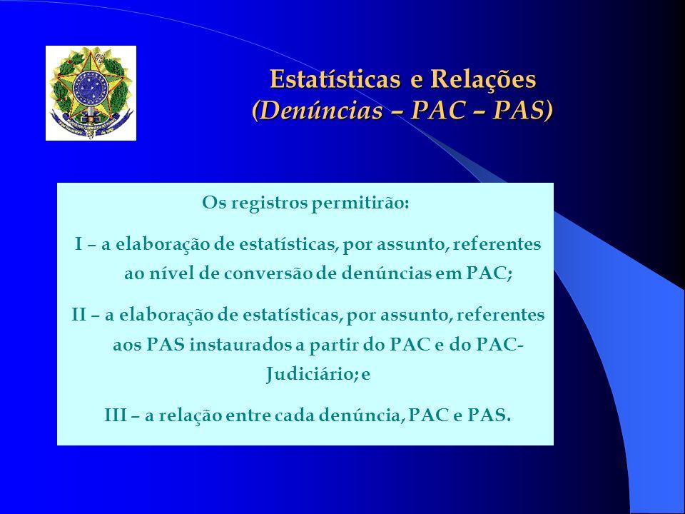 Estatísticas e Relações (Denúncias – PAC – PAS)