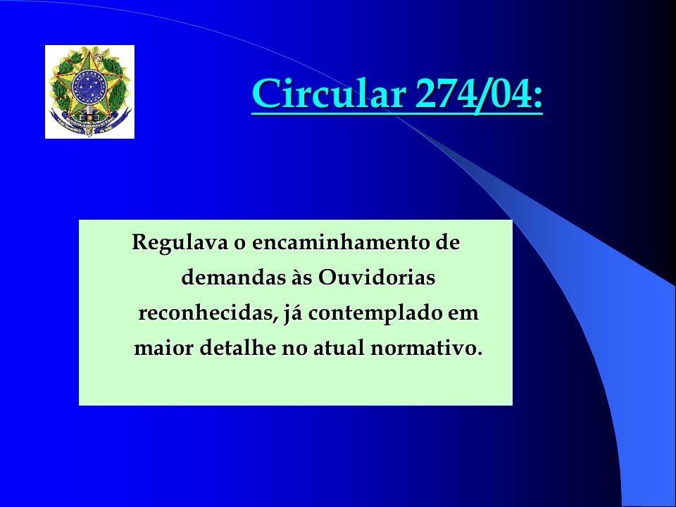 Circular 274/04: Regulava o encaminhamento de demandas às Ouvidorias reconhecidas, já contemplado em maior detalhe no atual normativo.