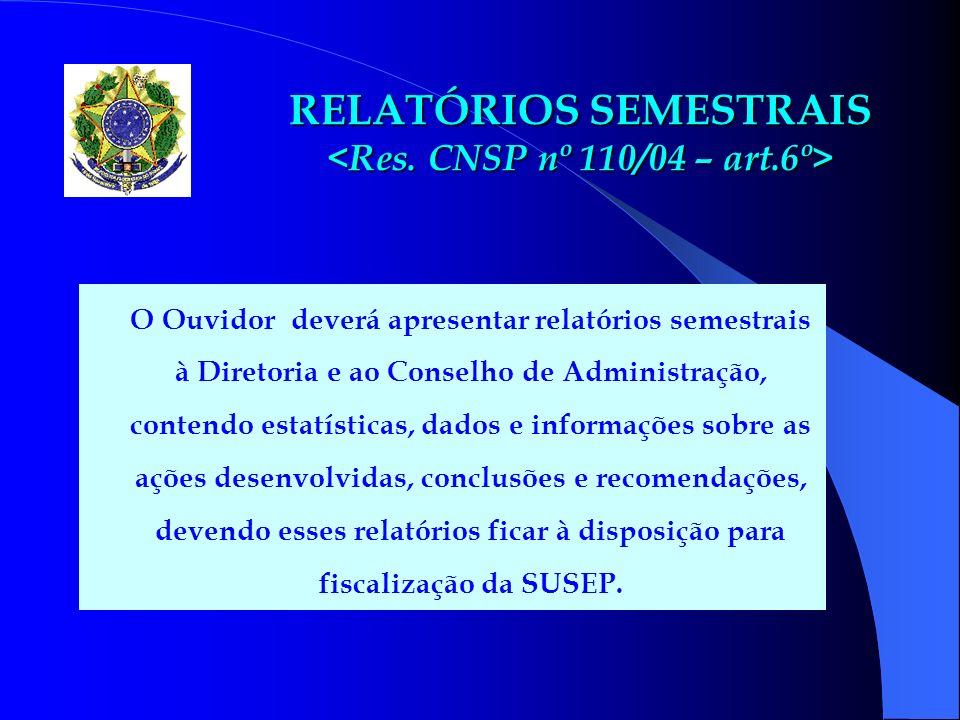 RELATÓRIOS SEMESTRAIS <Res. CNSP nº 110/04 – art.6º>