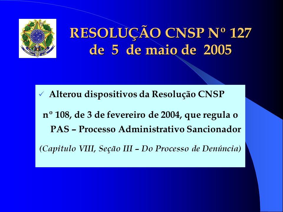 RESOLUÇÃO CNSP Nº 127 de 5 de maio de 2005