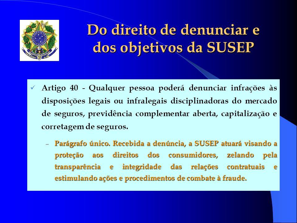 Do direito de denunciar e dos objetivos da SUSEP