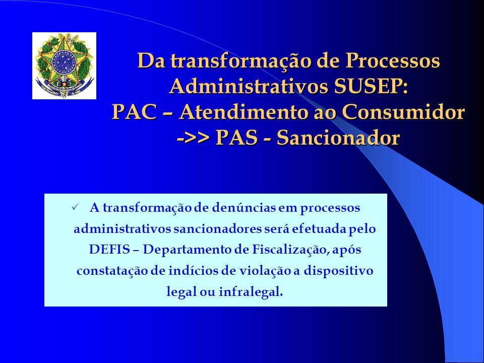 Da transformação de Processos Administrativos SUSEP: PAC – Atendimento ao Consumidor ->> PAS - Sancionador