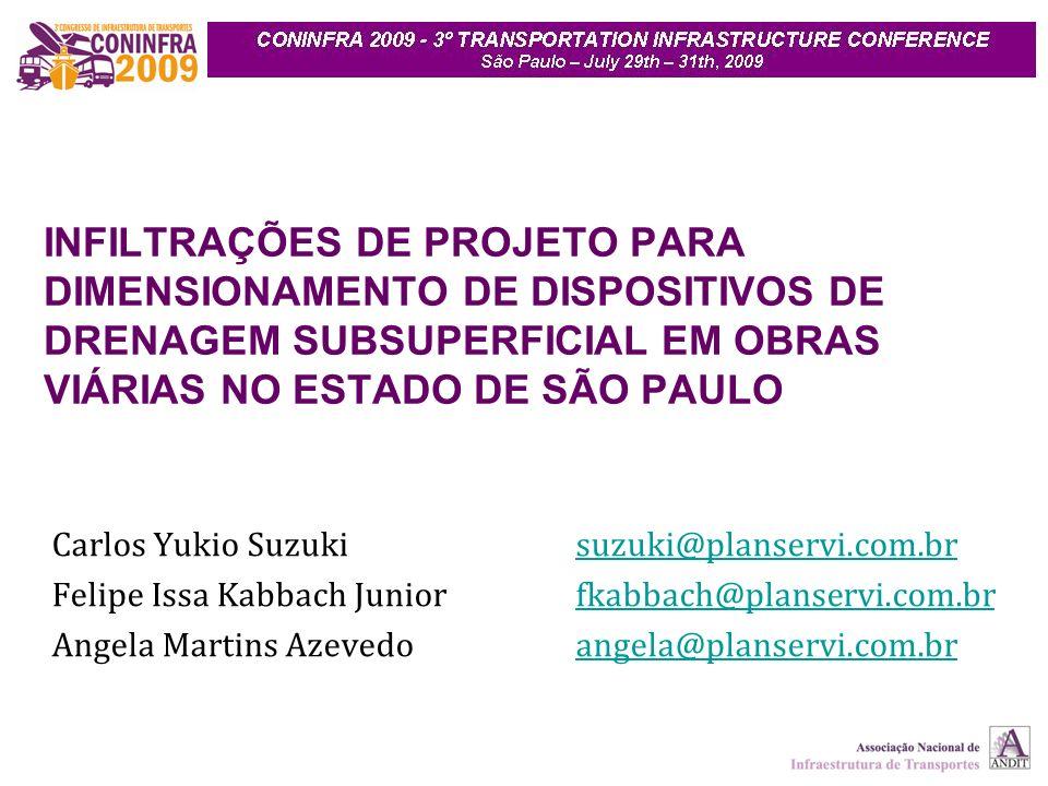 INFILTRAÇÕES DE PROJETO PARA DIMENSIONAMENTO DE DISPOSITIVOS DE DRENAGEM SUBSUPERFICIAL EM OBRAS VIÁRIAS NO ESTADO DE SÃO PAULO