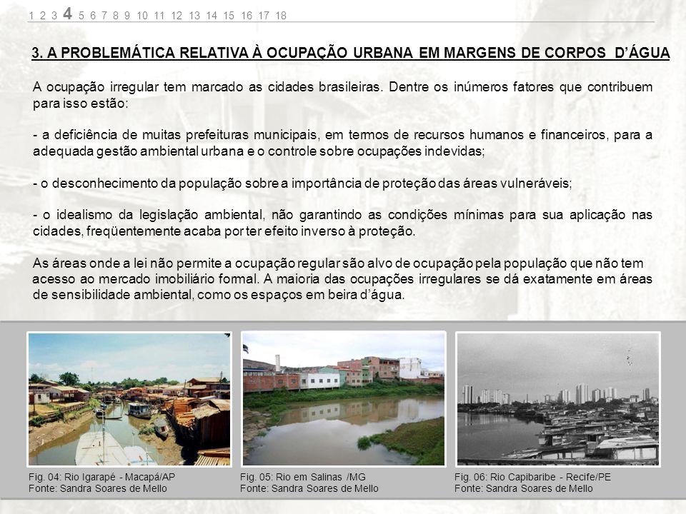 1 2 3 4 5 6 7 8 9 10 11 12 13 14 15 16 17 18 3. A PROBLEMÁTICA RELATIVA À OCUPAÇÃO URBANA EM MARGENS DE CORPOS D'ÁGUA.