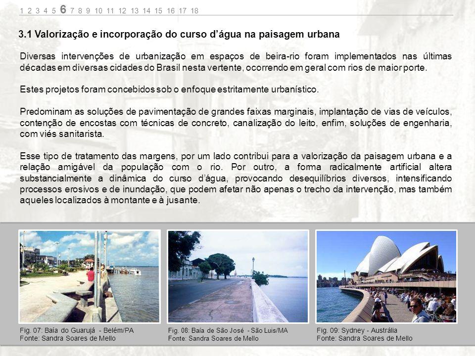 3.1 Valorização e incorporação do curso d'água na paisagem urbana