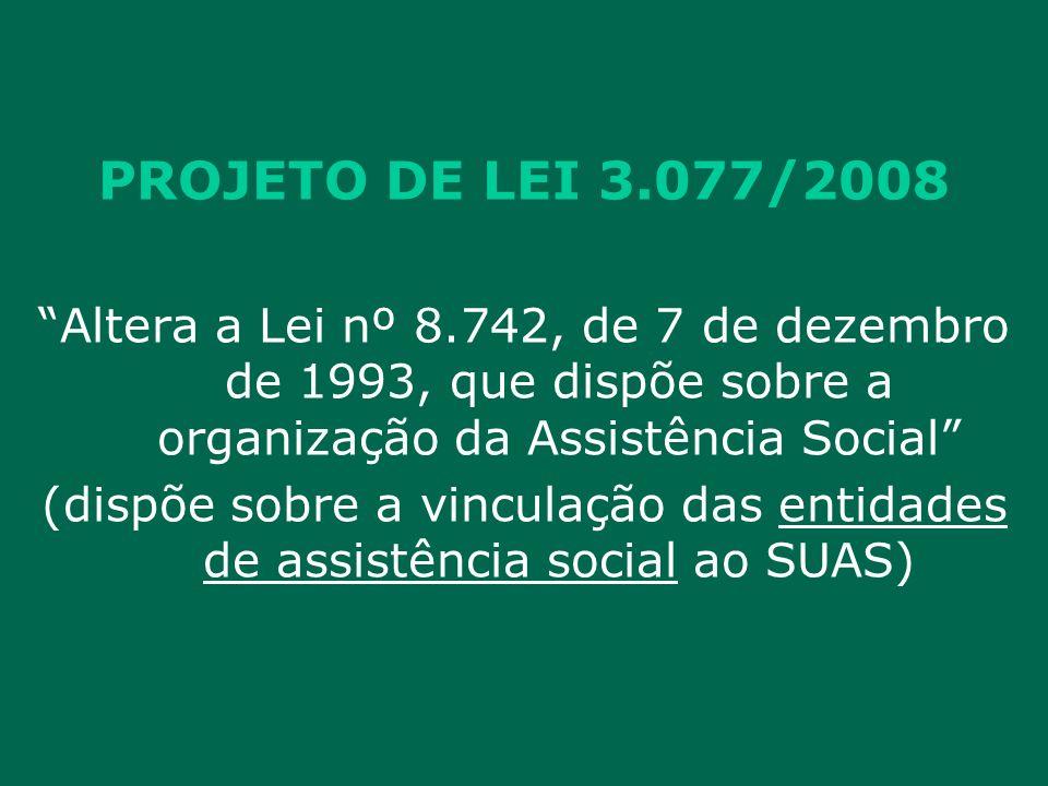PROJETO DE LEI 3.077/2008 Altera a Lei nº 8.742, de 7 de dezembro de 1993, que dispõe sobre a organização da Assistência Social