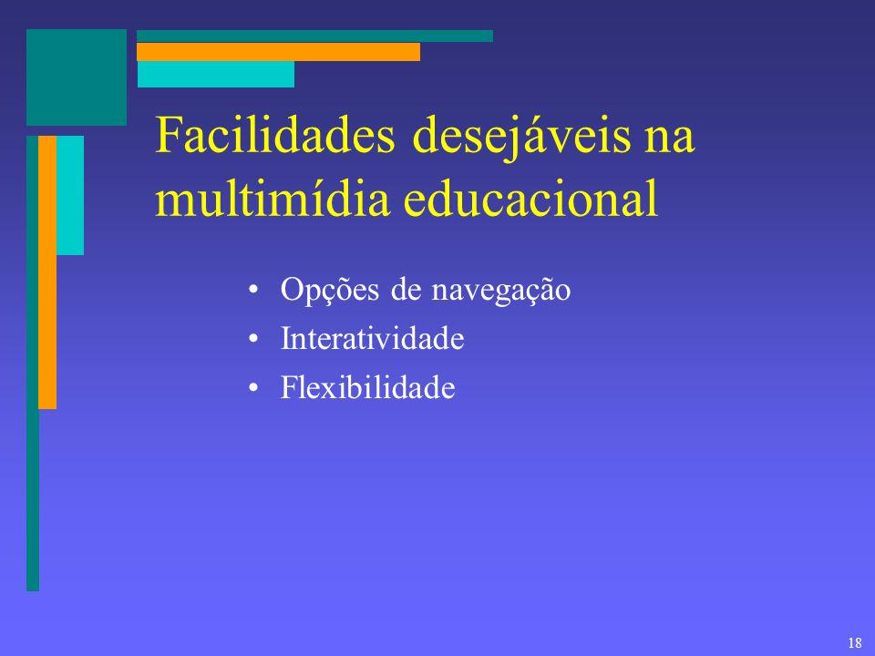 Facilidades desejáveis na multimídia educacional